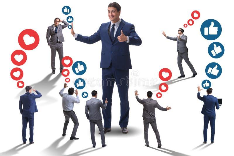 O conceito de redes sociais com homens de negócios ilustração royalty free