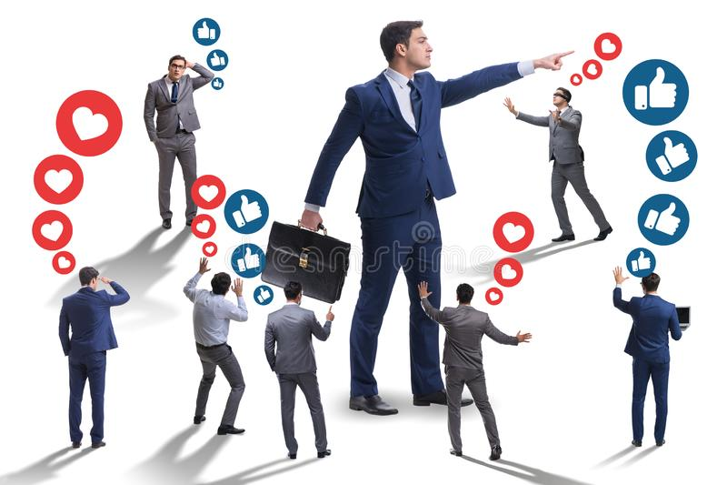 O conceito de redes sociais com homens de negócios ilustração do vetor