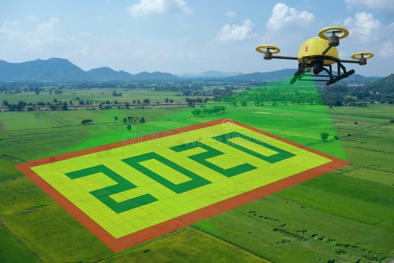 O conceito de 2020, a tecnologia em fazenda inteligente, agricultura com inteligência artificial futurista em 2020 para melhorar, fotografia de stock