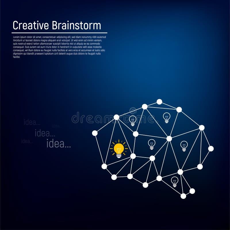 O conceito de um cérebro humano ativo com a emergência das ideias nela Símbolo da sabedoria ilustração do vetor