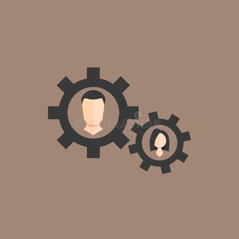 O conceito de um negócio com engrenagens é um homem e uma mulher EPS10 ilustração stock
