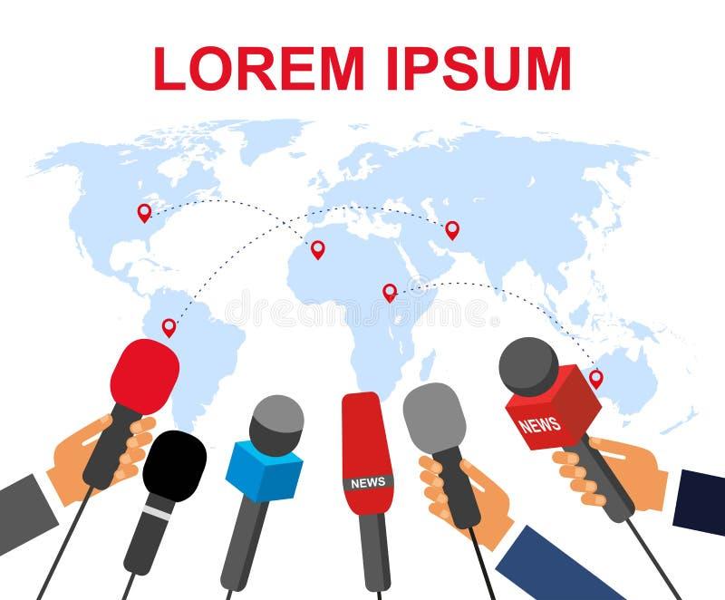 O conceito de um relatório real Muitos journalistas com os microfones em suas mãos no fundo do mapa de mundo ilustração do vetor