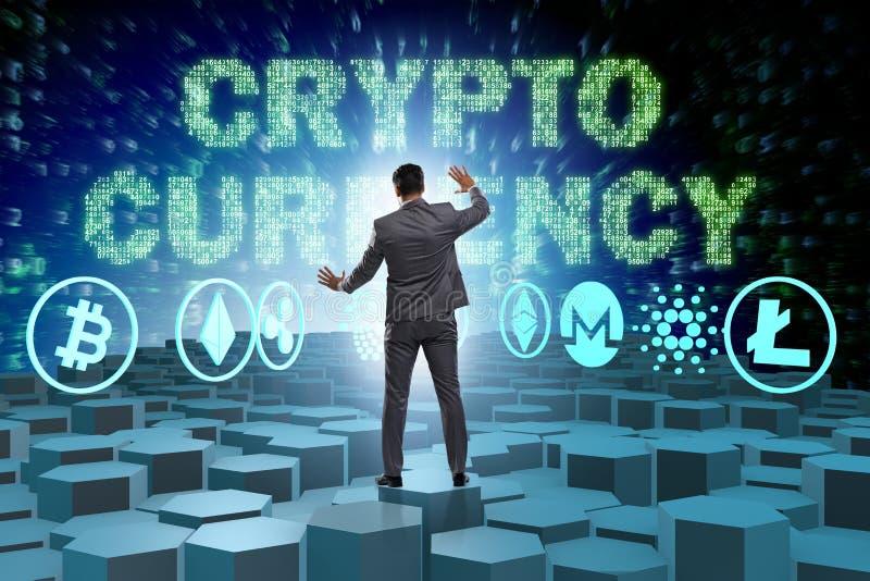 O conceito de vários cryptocurrencies e homem de negócios imagens de stock