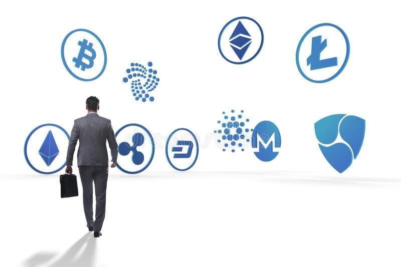O conceito de vários cryptocurrencies e homem de negócios imagem de stock royalty free