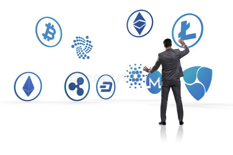 O conceito de vários cryptocurrencies e homem de negócios fotografia de stock