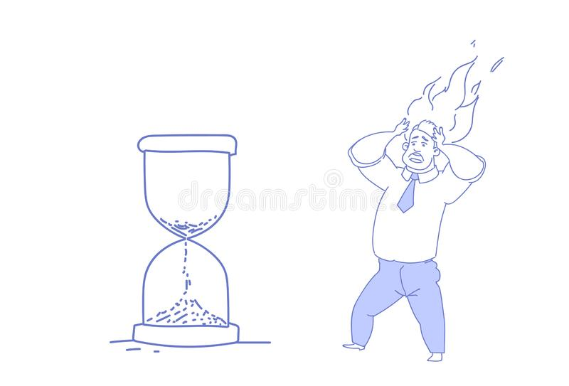 O conceito de vista principal ardente do fim do prazo do relógio da areia da posse sobrecarregado do homem de negócio forçou o es ilustração do vetor
