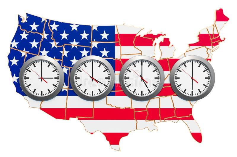 O conceito de zonas horárias nos Estados Unidos renderização 3D ilustração do vetor