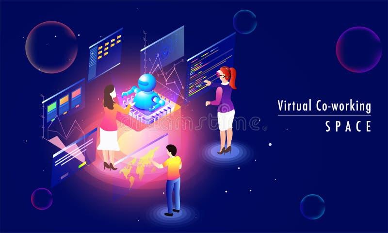O conceito detrabalho virtual do espaço baseou o projeto da página da aterrissagem com ilustração stock
