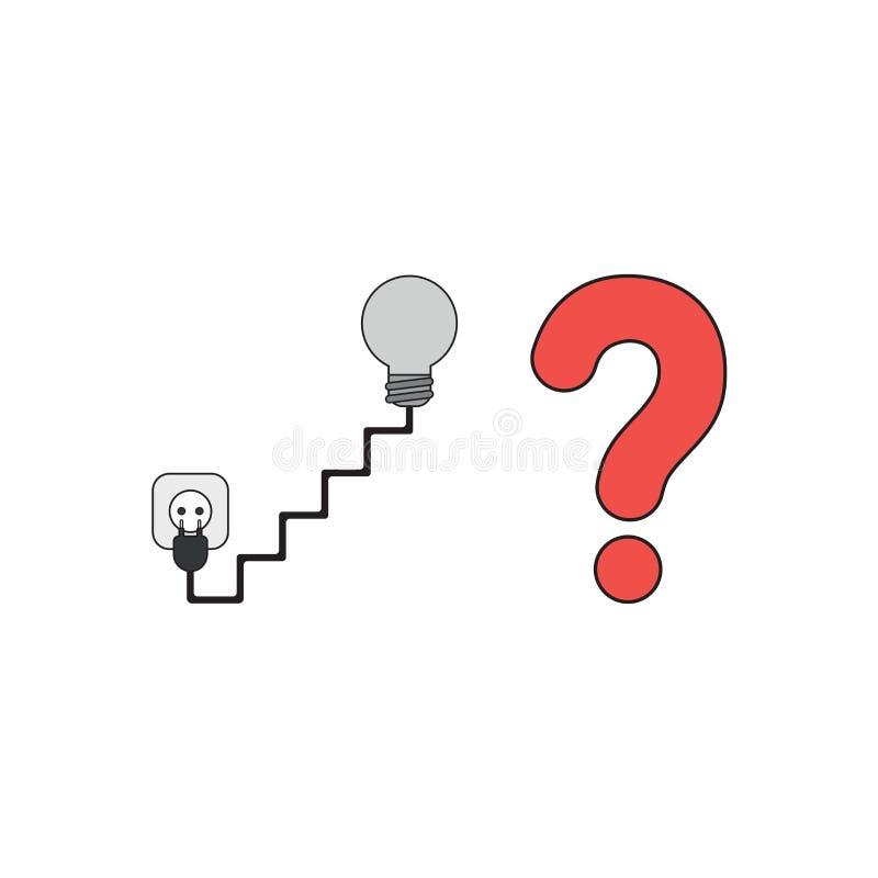 O conceito do ícone do vetor da ampola com escadaria deu forma ao cabo e a tomada, a tomada e o ponto de interrogação ilustração do vetor