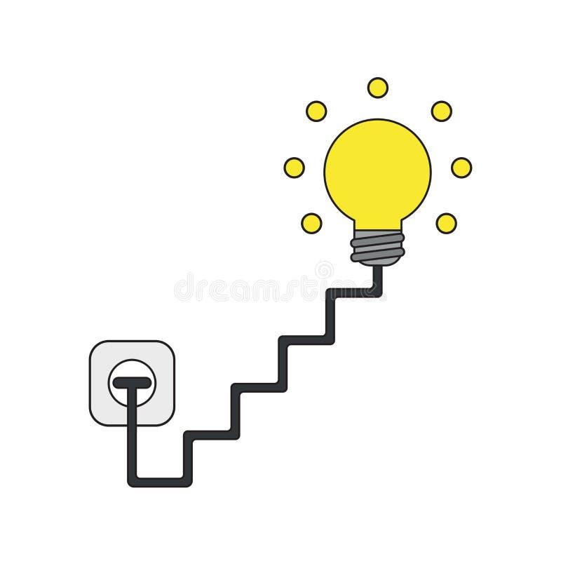 O conceito do ícone do vetor da ampola com escadas cabografa, obstruído na tomada e na incandescência ilustração stock