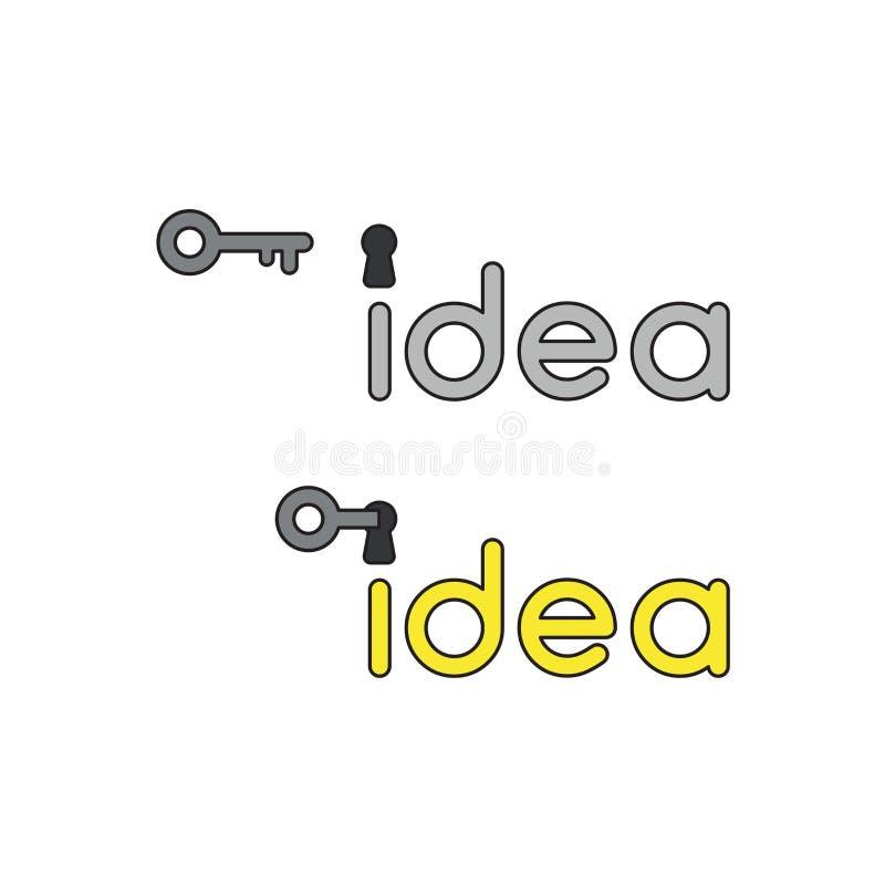 O conceito do ícone do vetor da palavra da ideia com buraco da fechadura e a chave destravam, palavra da ideia tornam-se amarelos ilustração royalty free