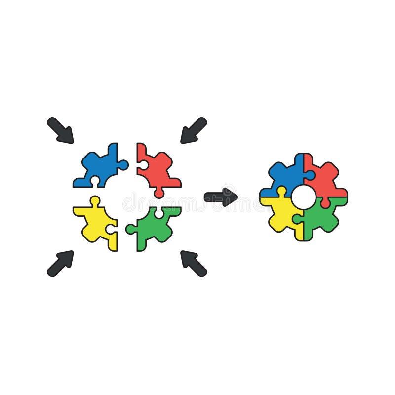O conceito do ícone do vetor de partes do enigma de serra de vaivém deu forma à engrenagem conectada Esbo?os pretos e colorido ilustração stock