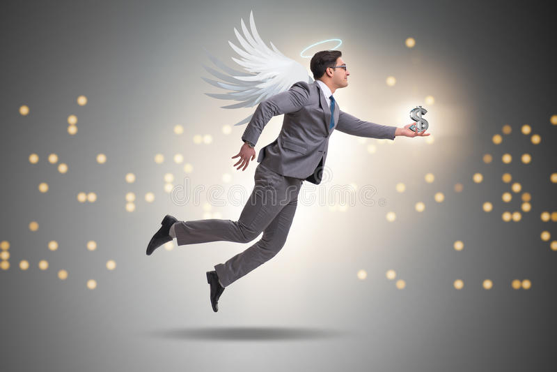 O conceito do acionista do anjo com o homem de negócios com asas imagens de stock