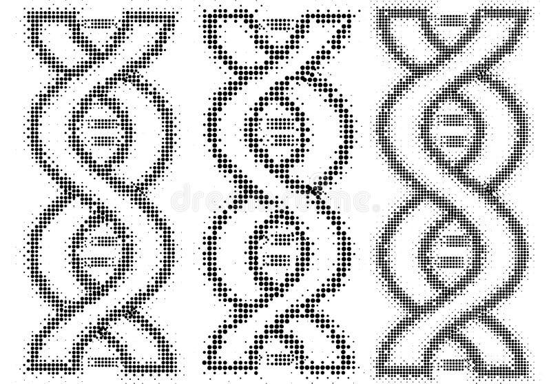 O conceito do ADN no formulário pontilha no fundo branco ilustração do vetor