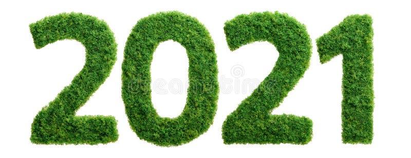 o conceito do ano da ecologia da grama 2021 verde isolou-se fotografia de stock