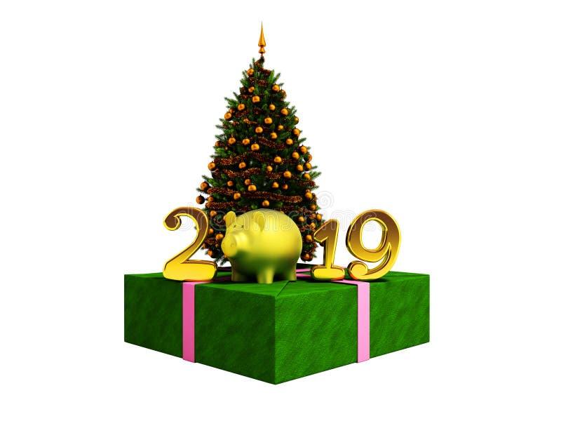 O conceito do ano novo 2019 anos do porco com Chri verde ilustração royalty free