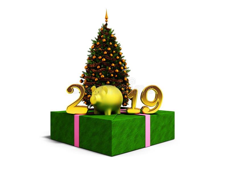 O conceito do ano novo 2019 anos do porco com Chri verde ilustração stock
