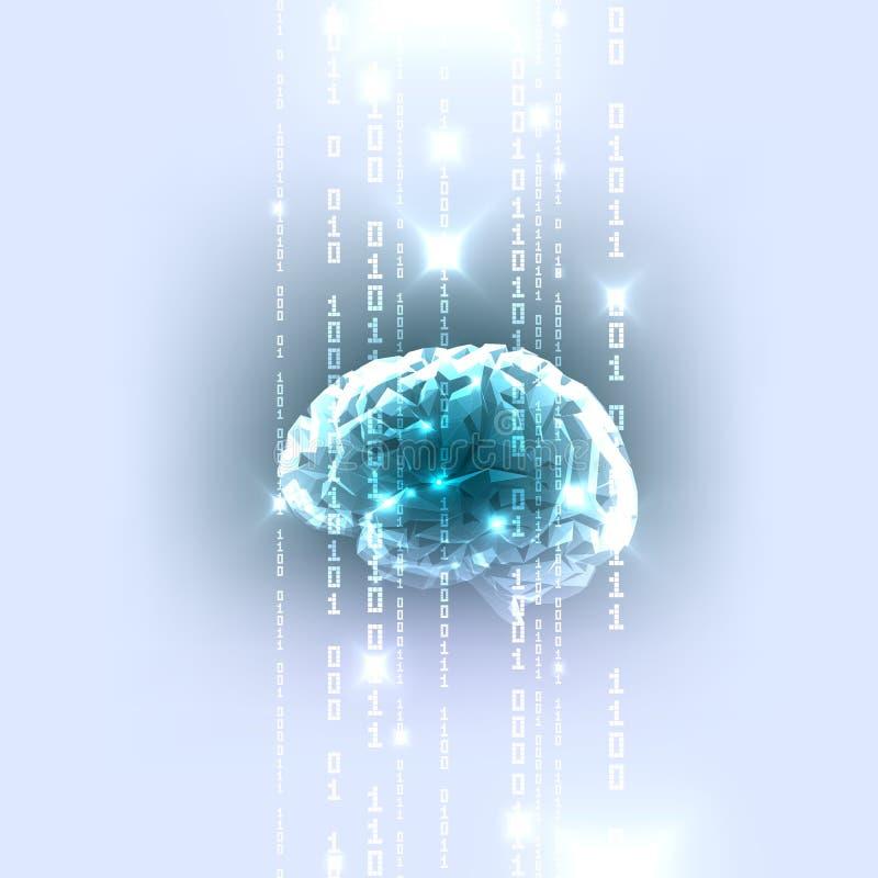 O conceito do cérebro humano ativo com código binário ilustração stock