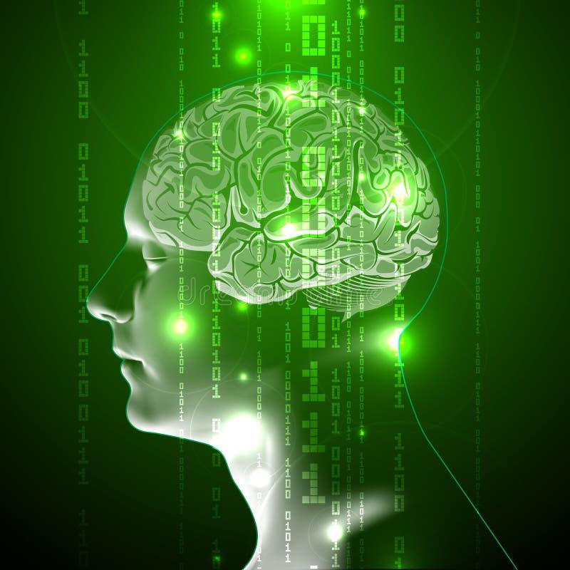 O conceito do cérebro humano ativo com código binário ilustração royalty free