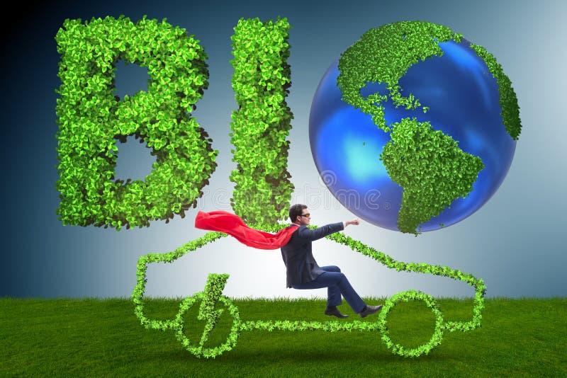 O conceito do carro bonde no conceito verde do ambiente ilustração royalty free