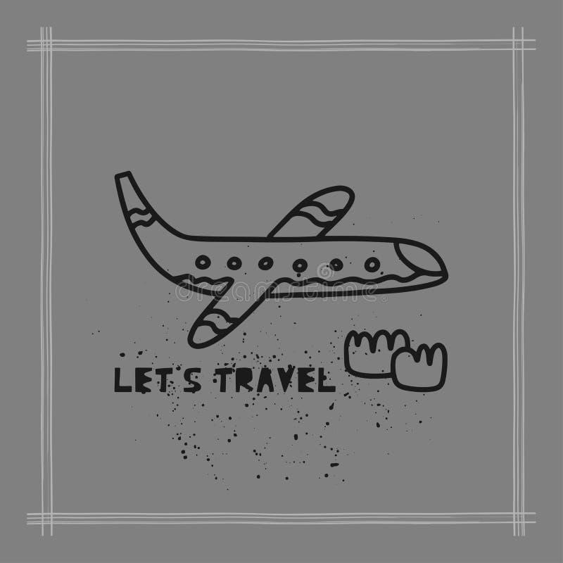 O conceito do cartão do curso com plano e texto 'deixou-nos viajar 'estilo da garatuja ilustração royalty free