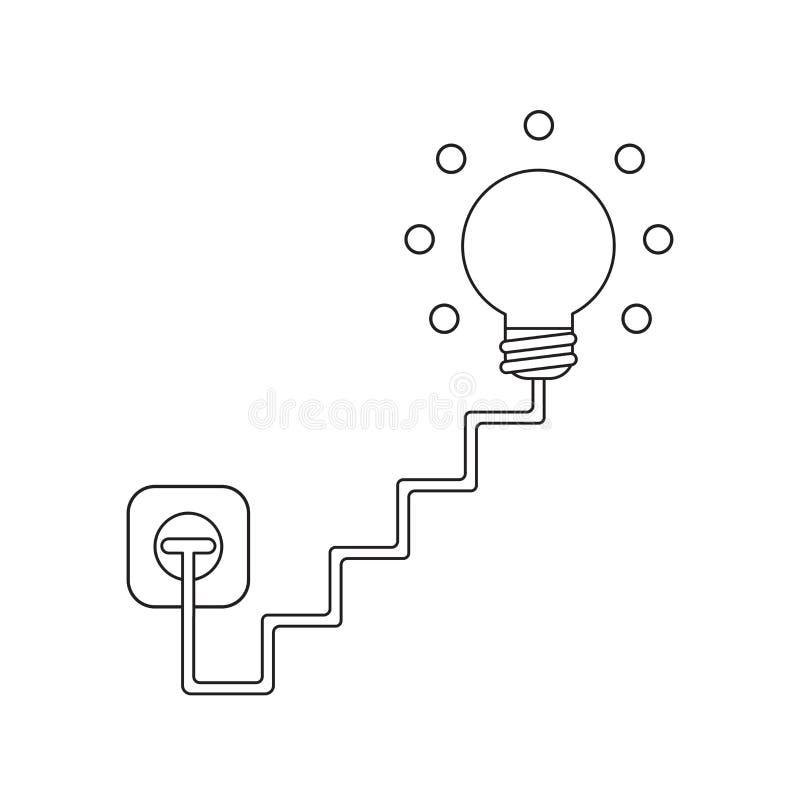 O conceito do ?cone do vetor da ampola com escadas cabografa, obstru?do na tomada e na incandesc?ncia ilustração royalty free