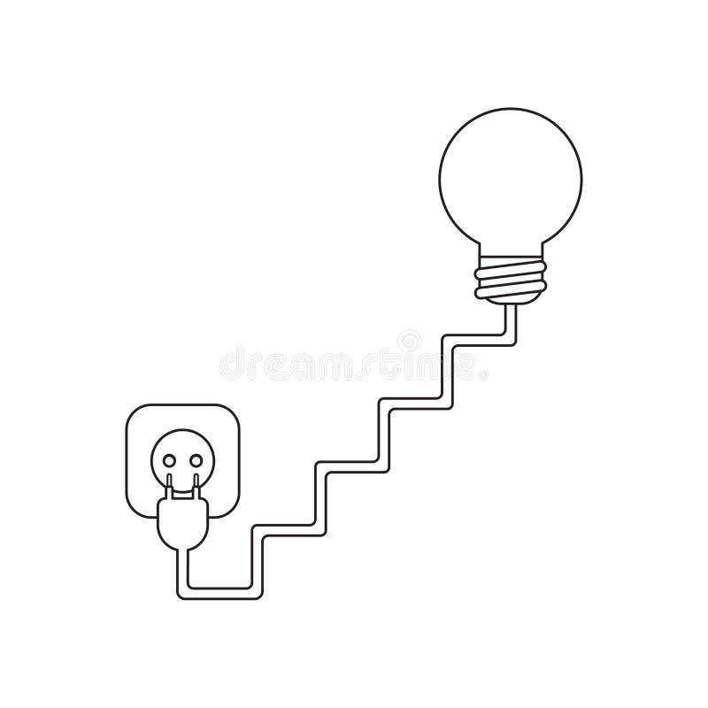 O conceito do ?cone do vetor da ampola com escadas cabografa, obstrui e tomada ilustração royalty free