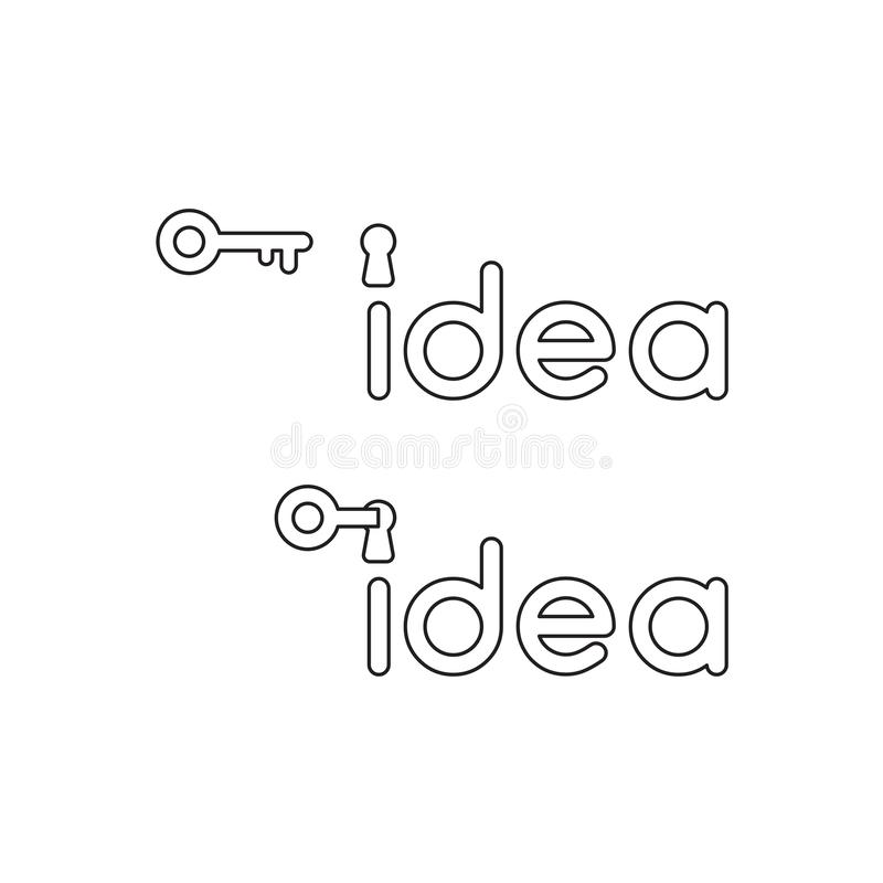 O conceito do ?cone do vetor da palavra da ideia com buraco da fechadura e a chave destravam, palavra da ideia tornam-se amarelos ilustração royalty free