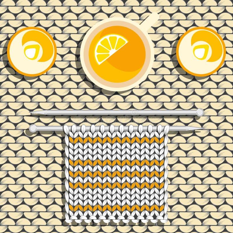 O conceito do conforto - Hygge, lagom Confecção de malhas, chá com limão, velas ardentes Fundo - textura da tela feita malha ilustração royalty free