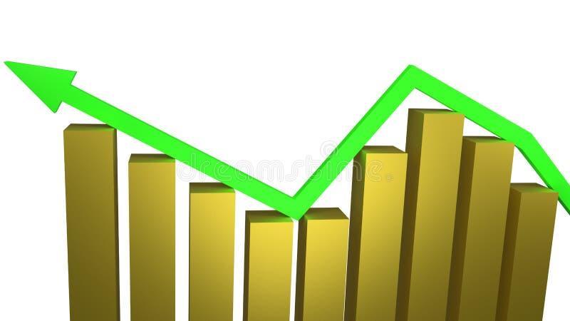 O conceito do crescimento econômico e o sucesso comercial com barras de ouro 3d rendem foto de stock