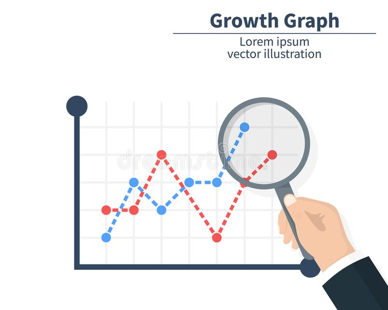 O conceito do crescimento do gráfico Homem de negócios que guarda uma lente de aumento O mercado de valores de ação chegou ilustr ilustração do vetor