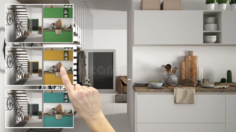 O conceito do desenhista do arquiteto, cozinha da exibição da mão colore opções diferentes, esboço do projeto de design de interi fotografia de stock