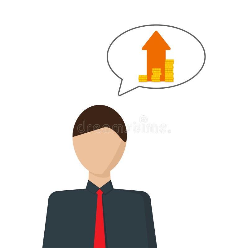 O conceito do desenvolvimento financeiro Imagem do vetor de uma pessoa que pense sobre o crescimento de dinheiro ilustração do vetor