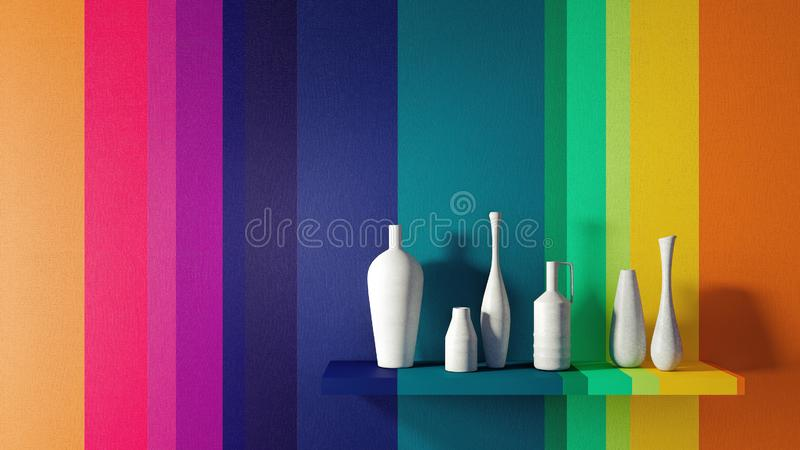 O conceito do design de interiores home moderno 3D rende ilustração stock
