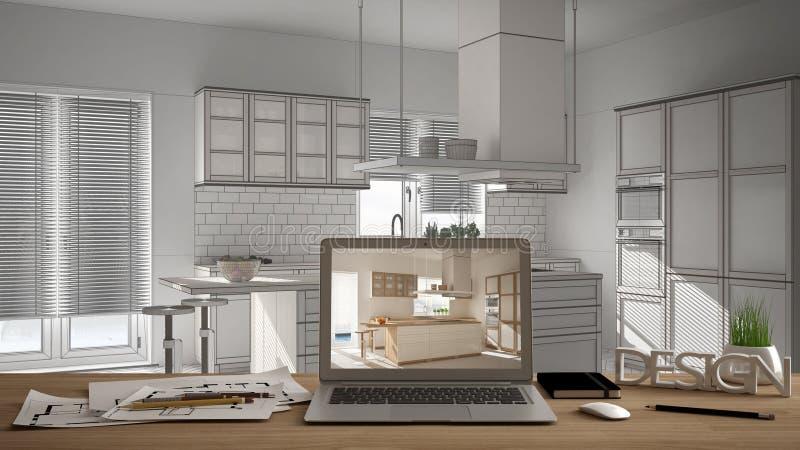 O conceito do desktop do desenhista do arquiteto, portátil na mesa de madeira do trabalho com a tela que mostra o projeto de desi fotografia de stock royalty free