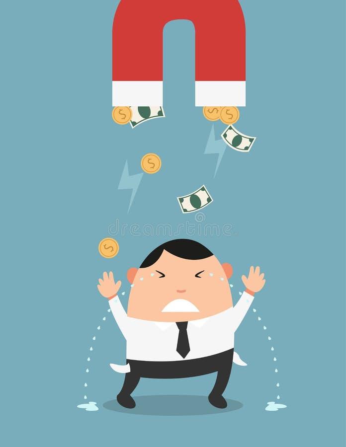 O conceito do dinheiro que está sendo ido tão rapidamente ilustração stock