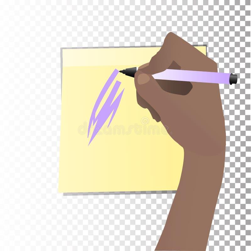 O conceito do estudo A mão está escrevendo ilustração stock