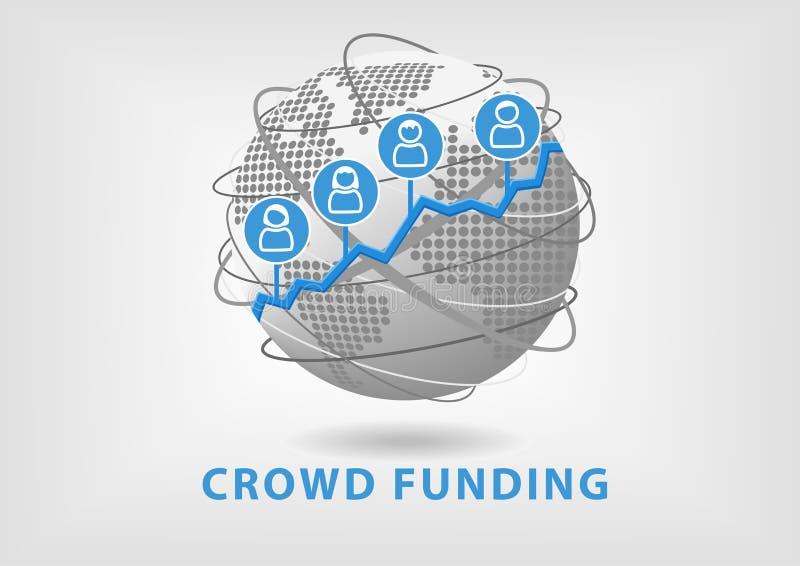 O conceito do financiamento da multidão conduz ao sucesso comercial e ao crescimento ilustração royalty free