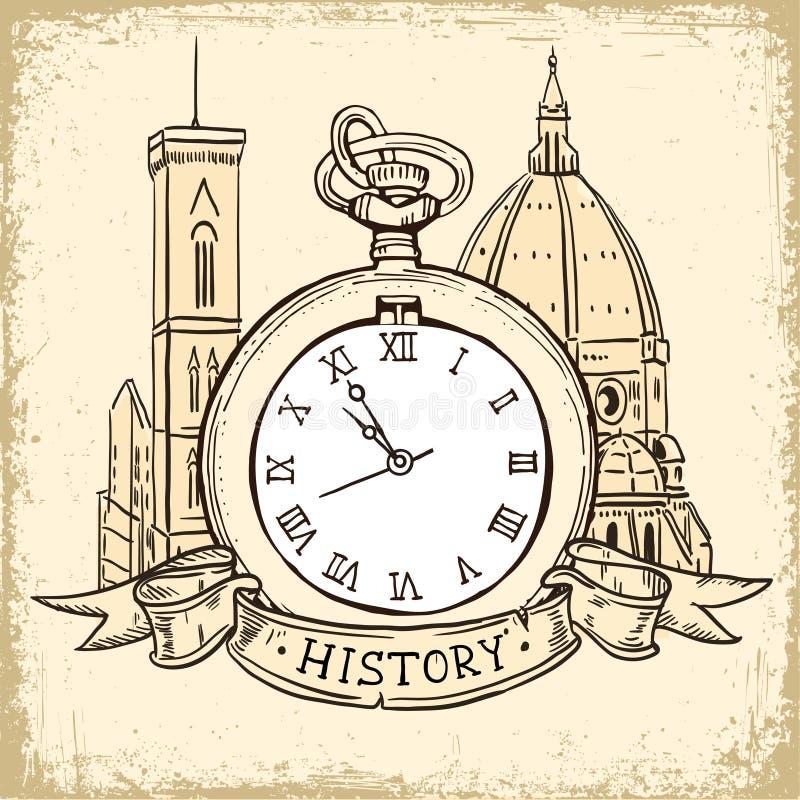 O conceito do fundo sobre a história, a catedral da arquitetura e o relógio de bolso no estilo do vintage ilustração do vetor