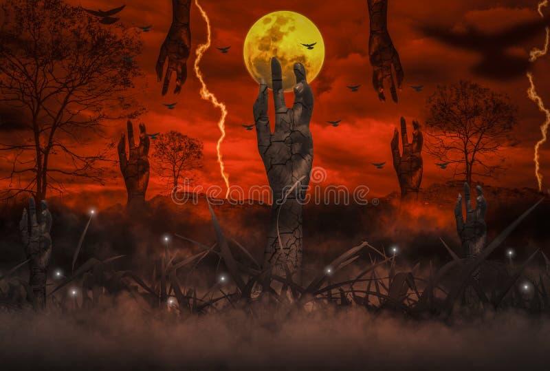 O conceito do horror da noite de Dia das Bruxas, com a mão ressuscitada do zombi que emerge do inferno, lua está flutuando em cur ilustração do vetor