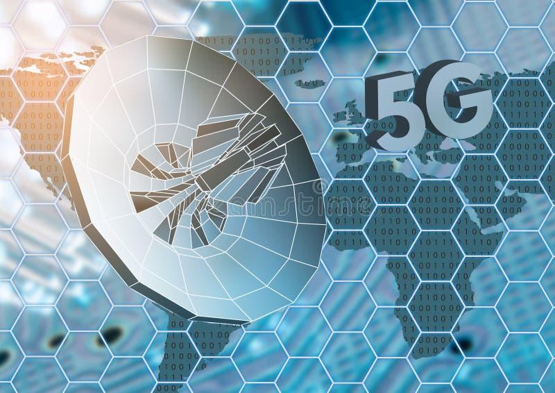 O conceito do Internet de rádio sem fio tecnologias do móbil 5G ilustração royalty free