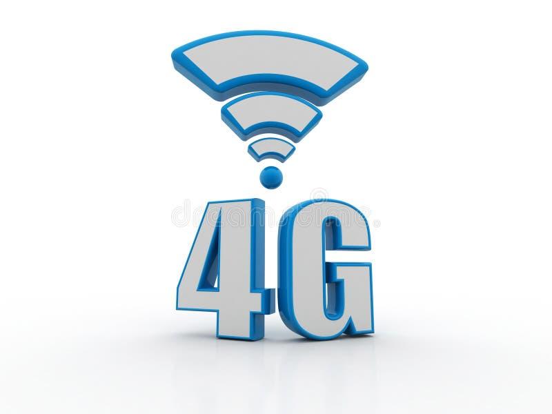 o conceito do Internet 4g, tabuleta com 4g assina dentro o fundo branco ilustração royalty free