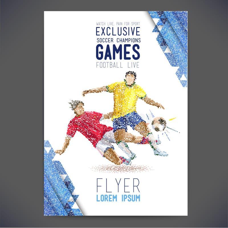 O conceito do jogador de futebol com а coloriu pontos montados na figura futebol ilustração do vetor