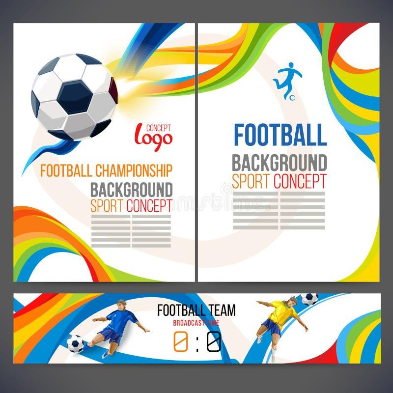O conceito do jogador de futebol com formas geométricas coloridas montou na figura futebol ilustração royalty free