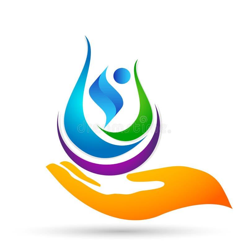 O conceito do logotipo do cuidado dos povos da saúde do globo da água das economias da gota da água da natureza do ícone do símbo ilustração royalty free