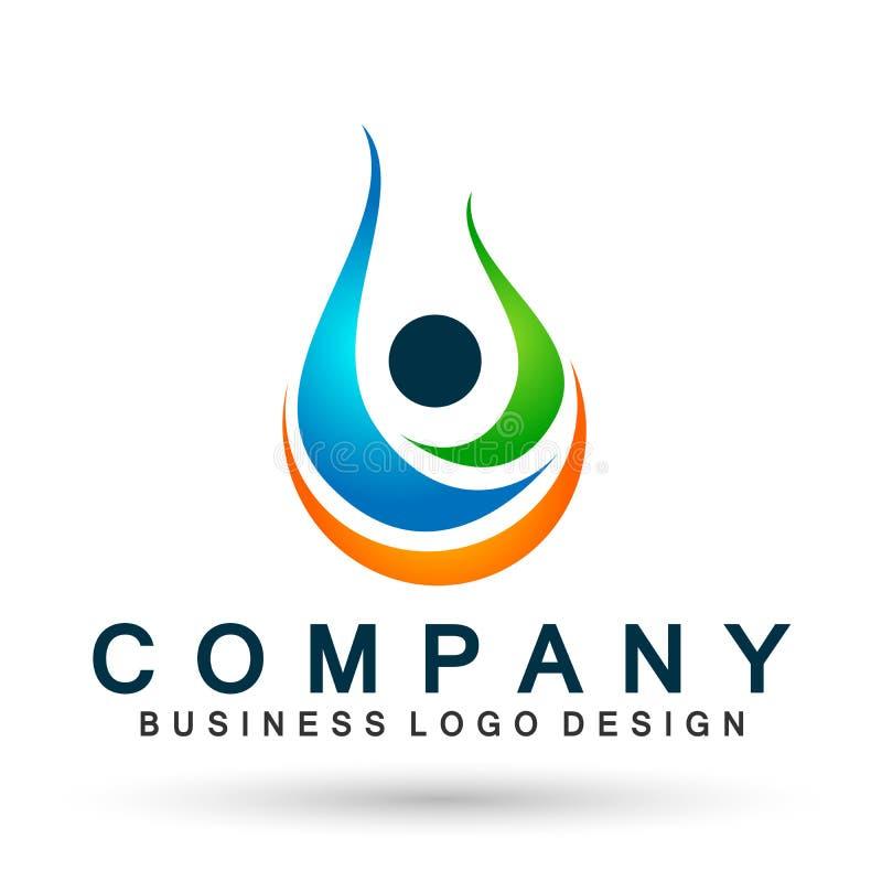 O conceito do logotipo dos povos da gota da água da natureza do ícone do símbolo do bem-estar do trabalho da equipe da união dos  ilustração stock
