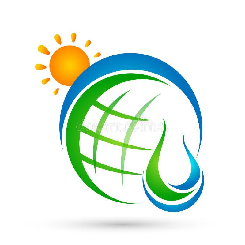 O conceito do logotipo do sol da gota da água do globo da gota da água com natureza do ícone do símbolo do bem-estar da terra das ilustração royalty free