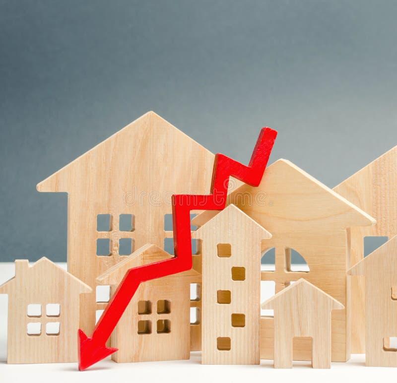 O conceito do mercado imobili?rio de queda Interesse reduzido na hipoteca Uma diminui??o em pre?os e em apartamentos da proprieda imagens de stock royalty free