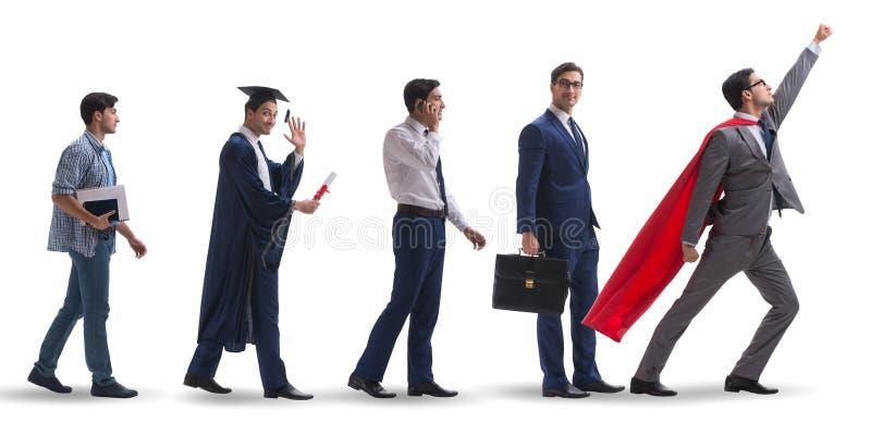 O conceito do negócio com o homem que progride através das fases fotografia de stock royalty free