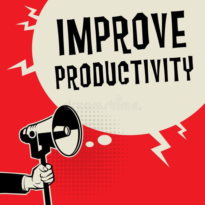 O conceito do negócio com texto melhora a produtividade ilustração do vetor